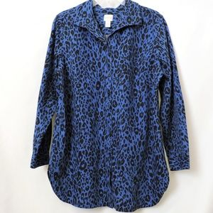 Chico's Tops - Chico's Royal Blue Leopard Print Long Tunic Blouse